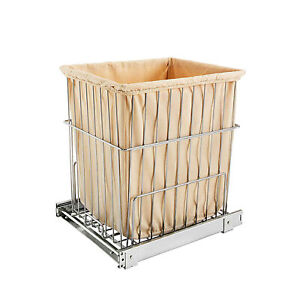 Rev-A-Shelf HRV-1520 S CR Pullout Wire Clothes Hamper Basket with Liner, Chrome