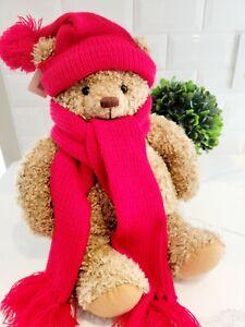 """HALLMARK """"Mary"""" Stuffed Teddy Bear Plush Red Hat/Scarf Christmas Winter 16"""" NWT!"""
