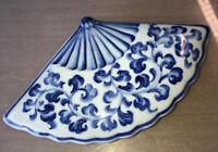 "Andrea by Sadek Thailand Delft Style Blue & White 8"" Fan Shape Trinket Box Nice"