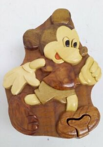 Vintage Wooden Mickey Mouse Puzzle Box Type Storage Box Collectible Disney #659