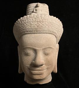 Authentic Khmer Koh Ker Kingdom red sandstone head of an Avalokiteshvara 10th c