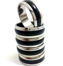 50PCS fashion men's Stainless Steel black enamel  Ring wholesale lots