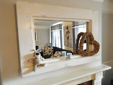 LARGE WOODEN WHITE LIME WAX MIRROR WITH SHELF SHABBY CHIC RUSTIC RECLAIMED