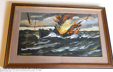 FRED CONWAY (1900-1972) SUBMARINE ATTACK 1940'S WWII ORIGINAL SIGNED ST LOUIS
