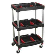 CX313 Sealey Workshop Trolley 3-Level Composite with Parts Storage Tool Trolleys