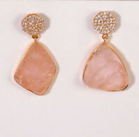 "Rough Rose Quartz CZ  Earring 1"" Rose Gold Plate Sterling Silver Jewelry ME3037D"