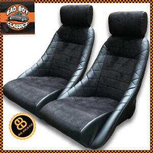 Pair BB1 GT Classic Car Sports Racing Bucket Seats Black / Alcantara UNIVERSAL
