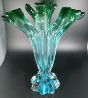 Murano Rare Beautiful Hand Blown Tall Glass Finger Vase Blue and Green