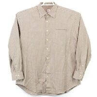 Peter Millar Men's Size XL Brown White Check LS Button Down Shirt Free Shipping
