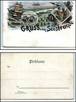 ~1895/1900 Litho-AK Lithographie Gruss vom Seestrande See Meer Nord-/o. Ostsee