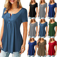 Women's Asymmetrical Oversize Tops Loose Casual Blouse Shirt Summer with Button
