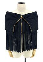 Authentic GUCCI Angora Wool Zippy Poncho Fringe Women's #M Black Gold Rank AB