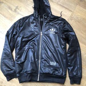 Rare Adidas Chile Jacket | Black XL Wet look Trefoil glanz Shiny Sherpa Winter