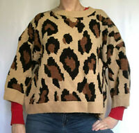 Unbranded Chunky Knit Slouchy Oversized Sweater, Animal/Leopard Print, Large