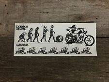 Sticker-Evolution Of Man, Chopper, Bobber, Harley, Triumph, Panhead, shovelhead