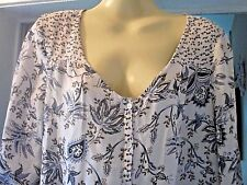 'Debenhams' Cream/Browns/Blue Paisley Pattern Top, 3/4 Sleeves, Size 12