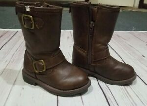 Carters size 6 brown faux leather zip up boots