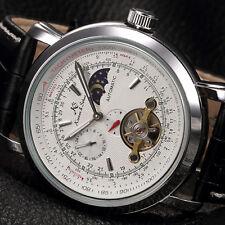 KS Men's Automatic Mechanical Black Leather Stainless Steel Luxury Wrist Watch