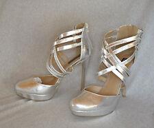 "Sophia & Lee ""Misha"" silver finish hi-heel strappy sandal - Size 11, 5.25"" heel"