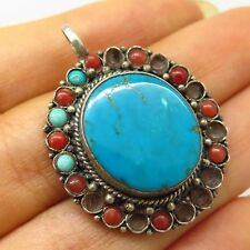 Antique 925 Sterling Silver Real Turquoise & Coral Gem Tribal Design Pendant