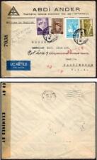 Turkey #892,898,C3,RA50 Censored Air Mail November 2 1944 Istanbul to USA