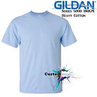 Gildan T-SHIRT Light Blue Basic tee S M L XL XXL XXXL Men's Heavy Cotton