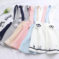 Japanese Women's Kawaii Sweet Lolita Cat Print Preppy Suspender Dress Mini Skirt