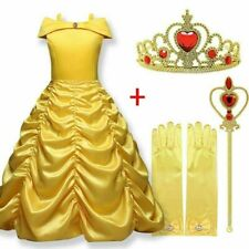 Girls Kids Belle Dress Princess Beauty And The Beast Fancy Costume Crown Scepter