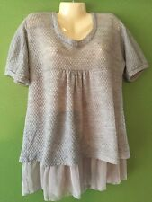 MK2K Tunic Top Long Knit Shirt Boutique Designer Beige Short Sleeve Medium