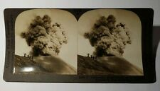 Vintage stereoview card A volcanic eruption in Java