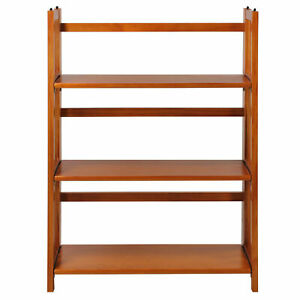 """3-Shelf Folding Stackable Bookcase 27.5"""" Wide-Honey Oak"""