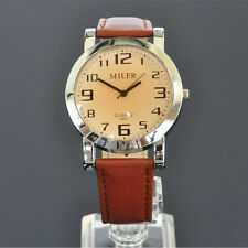 New MILER Modern Brown Color Dial Leather Band Analog Quartz Mens Wrist Watch 10