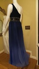 *NEW SUE WONG NOCTURNE BLUE BLACK EMBELLISHED EVENT GOWN MAXI DRESS Sz10 Rt $545
