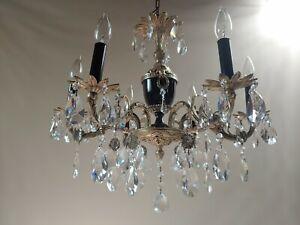 Antique silver gilded Brass 6 Lights crystal Chandelier