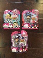"""KUU KUU HARAJUKU Set of 3 Dolls w/ Ring Charms 4"""" Music  G  Love  NEW  Mattel"""