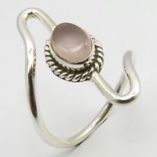 5 Ladies Gems Jewelry Free Shipping Solid Sterling Silver Rose Quartz Ring Sz