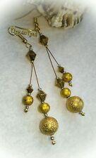 Gold Colour Beaded Dangle Earrings................. Gold Plated Hooks....
