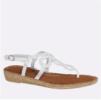 New Women's Cloudwalkers Braided Demi Wedge Thong Sandals White Wide Width