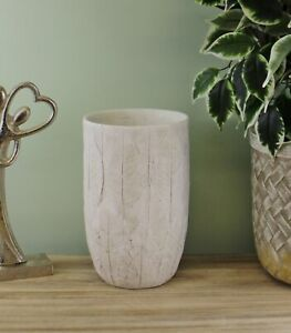 Cement Embossed Leaf Vase, 21.5cm