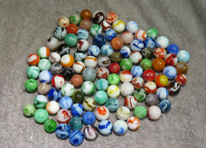 """GROUP OF 100 MIXED WEST VIRGINIA SWIRL MARBLES  9/32"""" TO 21/32""""  NM / M W105"""