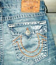 *HOT Men's TRUE RELIGION @ RICKY SUPER T -OR STRAIGHT LEG DISTRESS Jeans 34 x 34
