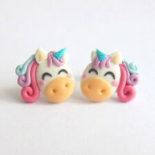 Handmade Polymer Clay Pastel Unicorn Horse Pony Ponies Girls Earrings Jewelry