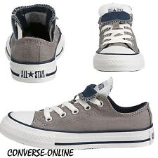 KID Boy Girl CONVERSE All Star GREY BLUE DOUBLE TONGUE OX Lo Trainers SIZE UK 12