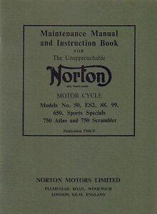 Norton 88 99 650SS Atlas ES2 Motorcycle Instruction Book and Maintenance Manual