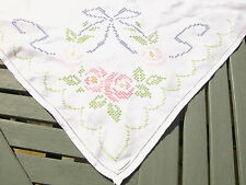 "VINTAGE LINEN EMBROIDERED (CROSS STITCH) TABLECLOTH -50"" - super condition"