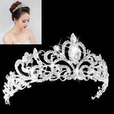 Wedding Bridal Princess Hair Tiara Crown Crystal Austrian Veil Headband Prom MO