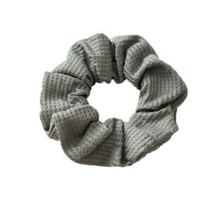 Colorful Soft Cotton Ribbed Solid Color Scrunchie Elastic Hair Tie Ponytail Ring