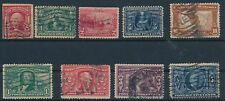 U.S. #323-7 (COMPLETE), #328-30 (COMPLETE) & #320A (1904-1907); USED; CV $170