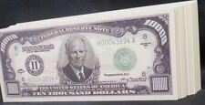 WHOLESALE LOT of 100 $10000 DOLLAR BILL NOVELTY MONEY USA FAKE DWIGHT EISENHOWER