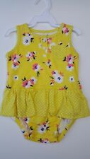 Carters Baby Girls Yellow Floral Skirt Romper 6 Months NWT